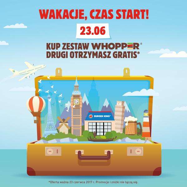 23 czerwca drugi zestaw Whopper gratis @ Burger King (Pasaż Grunwaldzki WROCŁAW)