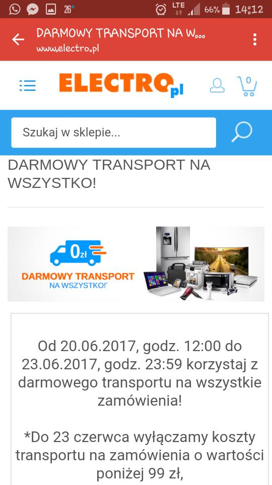 Darmowa dostawa na wszystko @ Electro