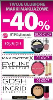40% rabatu na wybrane marki makijażowe (m.in.Max Factor,Bourjois) @ Hebe