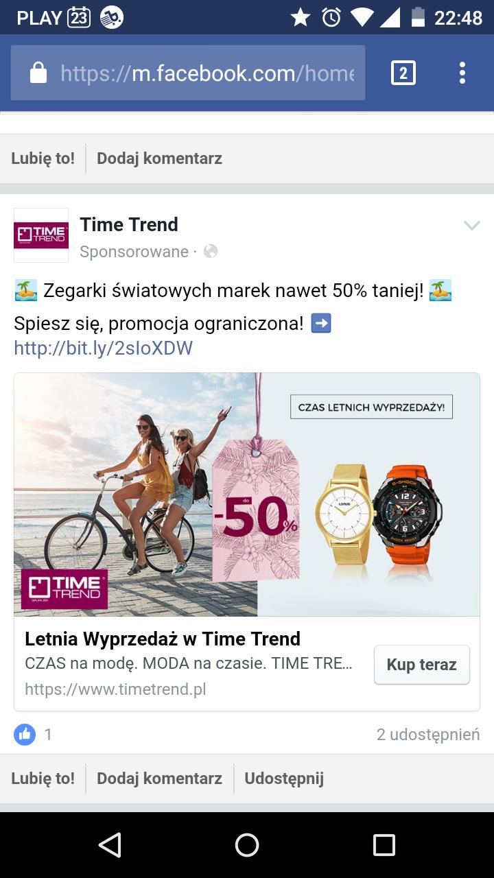 Do 50% taniej zegarki w Time Trend