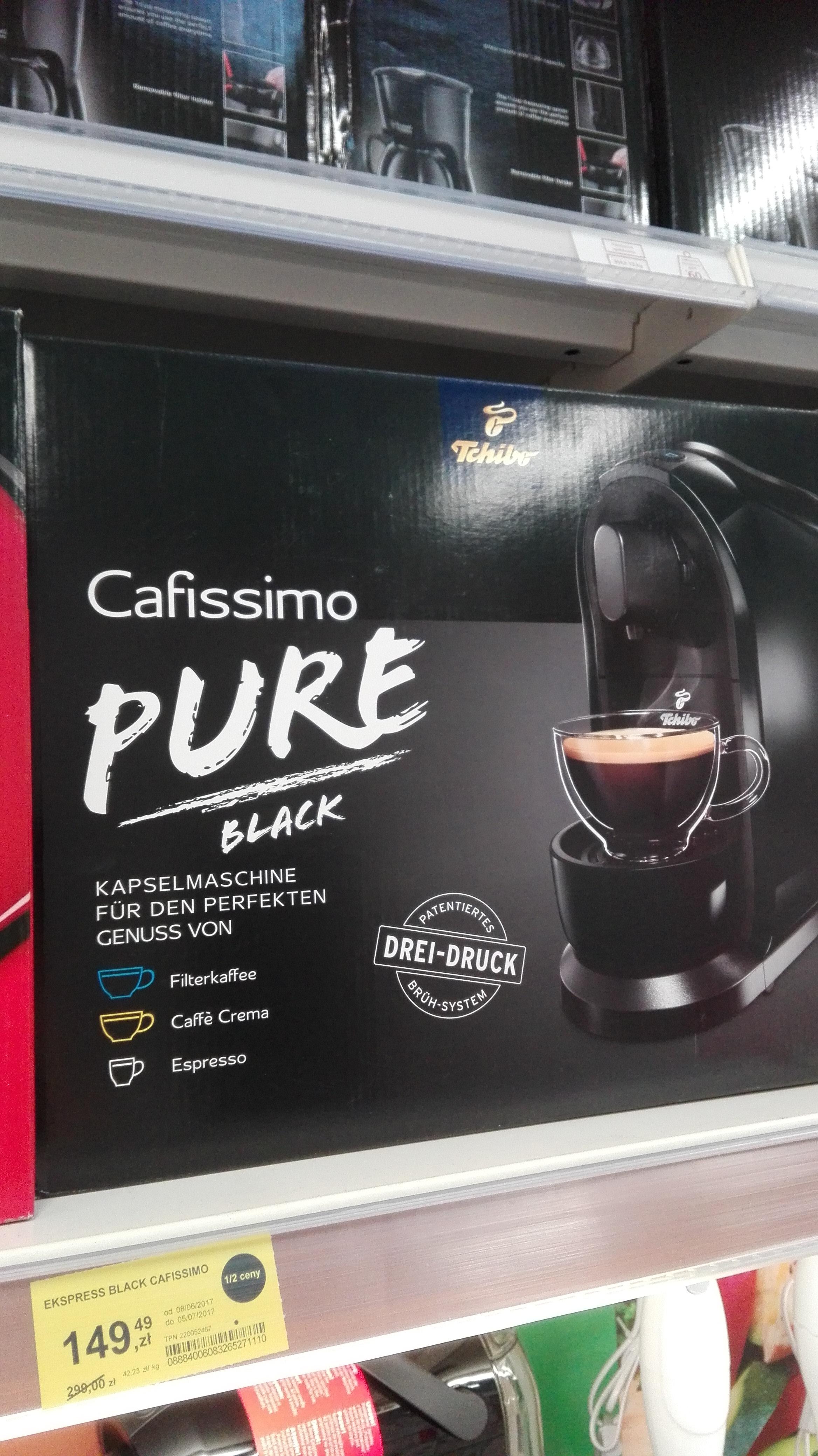 Ekspres Cafissimo Pure Black lub Red w Tesco Łomża za 149,99 zł