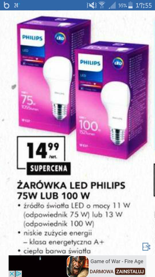 Żarówka LED Philips 11W - 75W, 13W - 100W E27 @ Biedronka