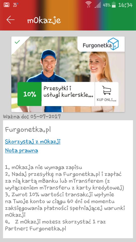 mOkazja: 10% zwrotu za przesyłkę kurierską na furgonetka.pl @mbank.pl