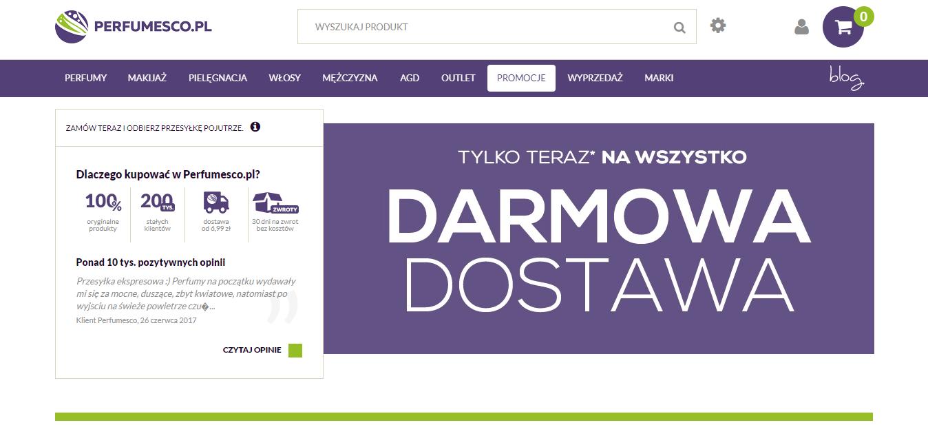 Perfumesco Darmowa Dostawa na wszystko kurierem DPD i do Kiosku Ruchu