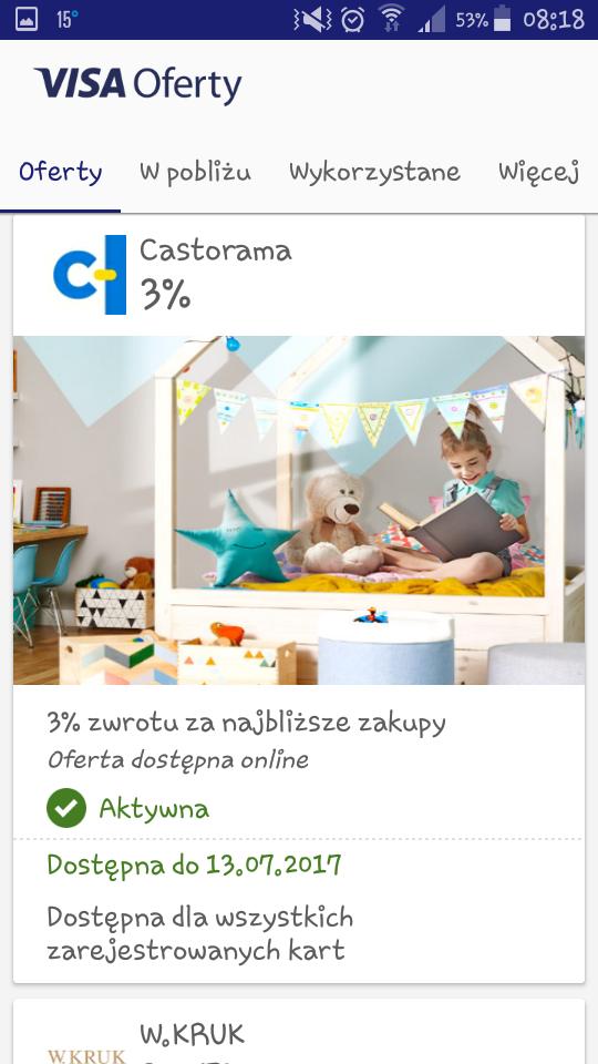 Visa oferty(zwroty): Castorama - 3%, drogeria Natura - 7%, Ravelo.pl - 8%.