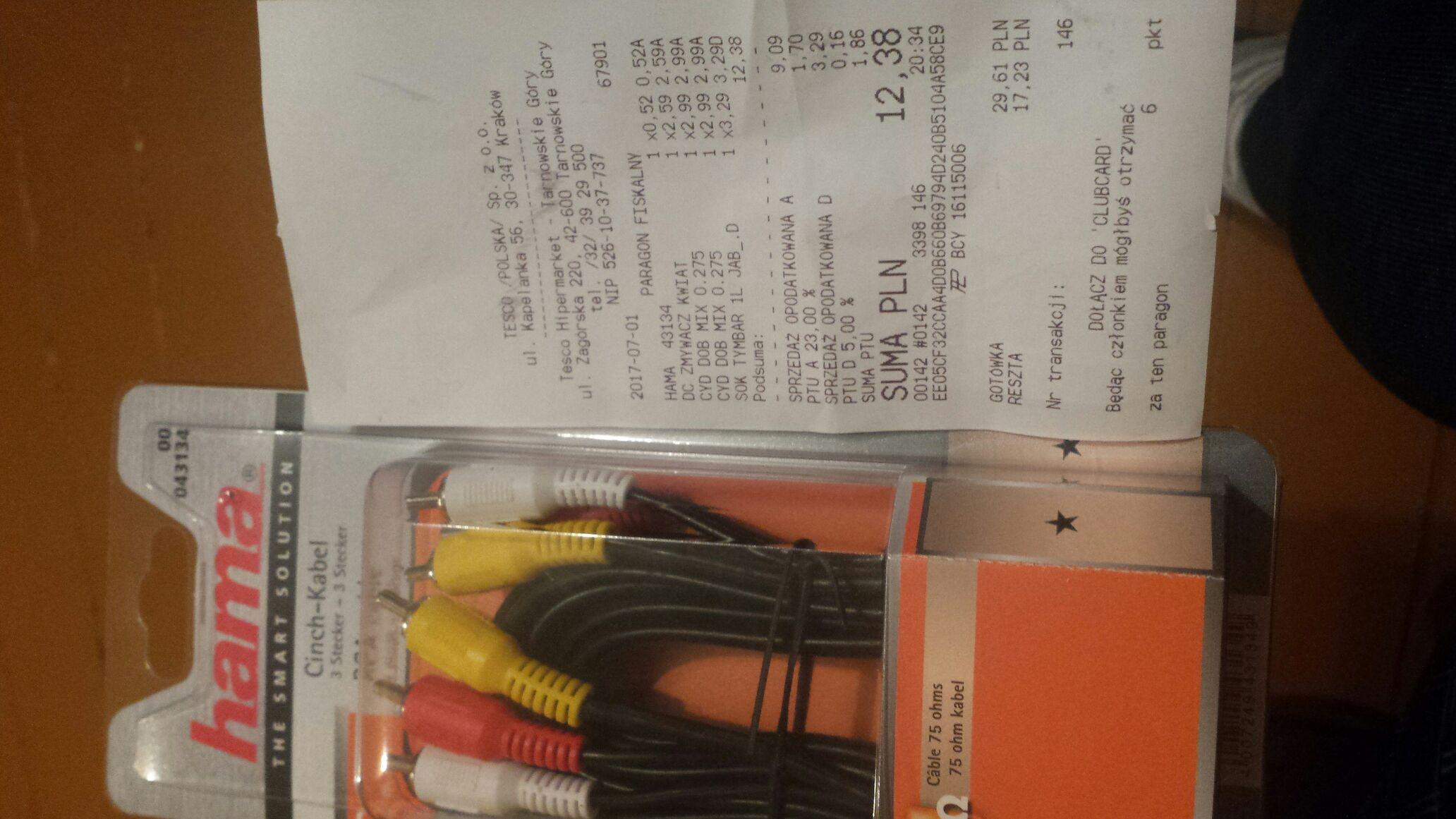 Przewód Hama 3RCA Cinch-Kabel  (2 metry) TESCo