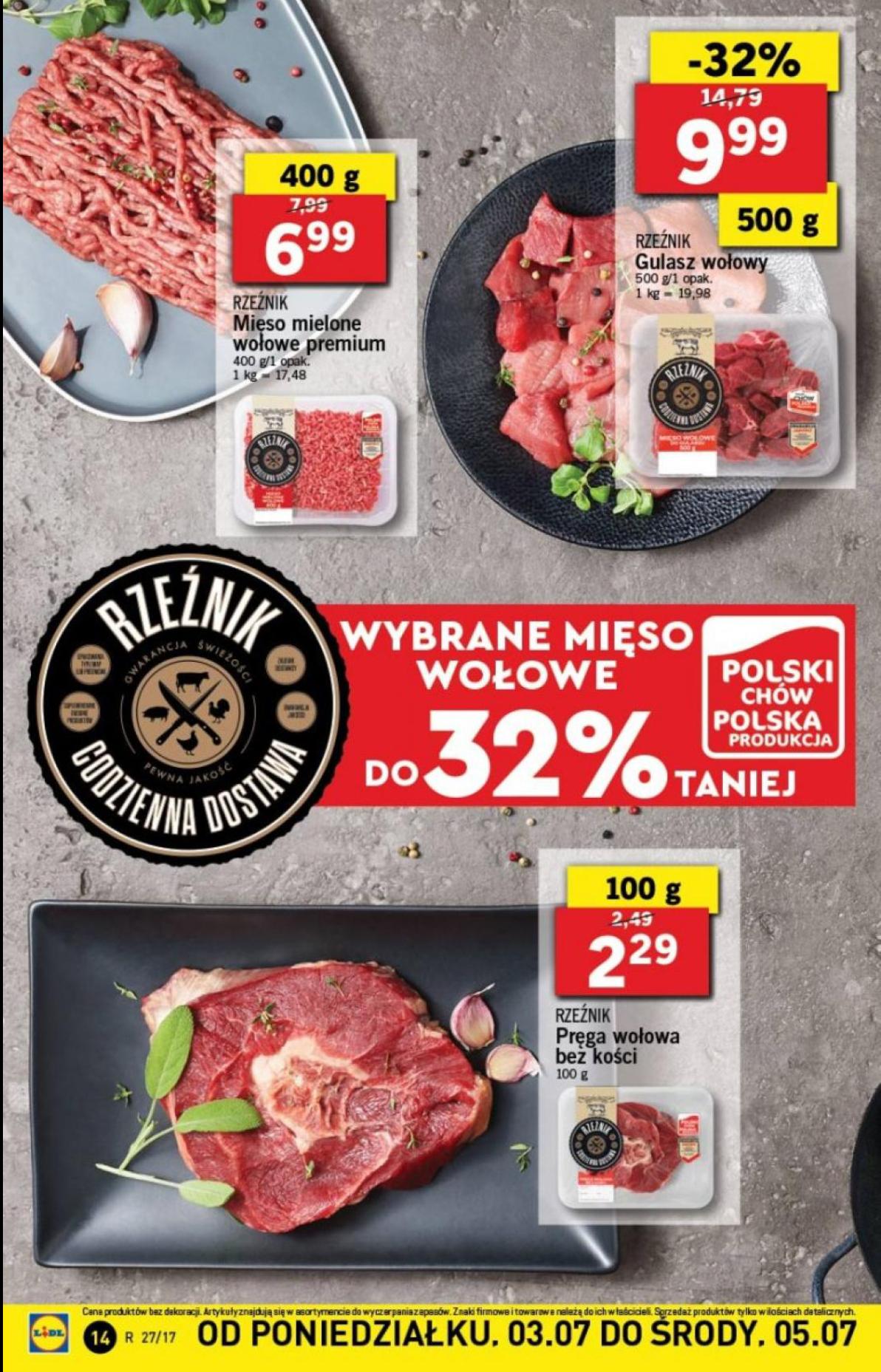 Mięso wołowe w Lidlu