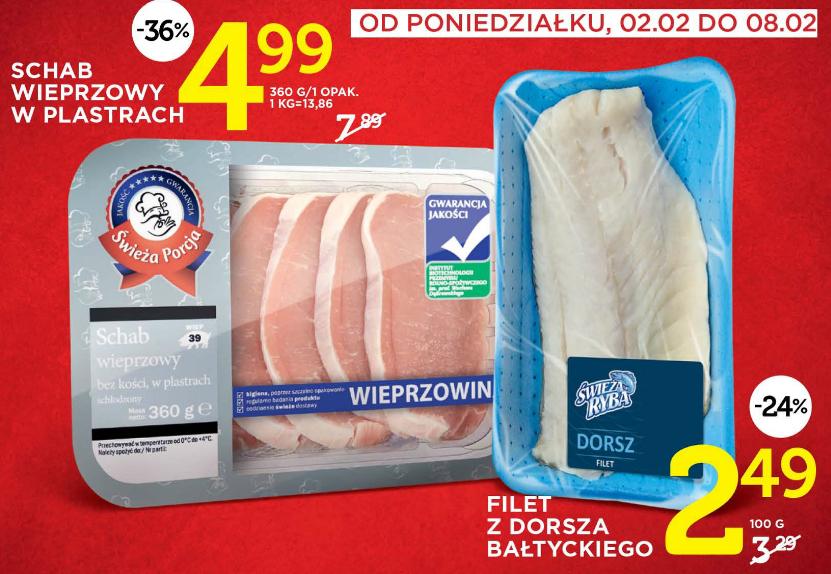 360g schabu w plastrach za 4,99zł (-36%) i 100g filetu z dorsza bałtyckiego za 2,49zł (-24%)@ Lidl