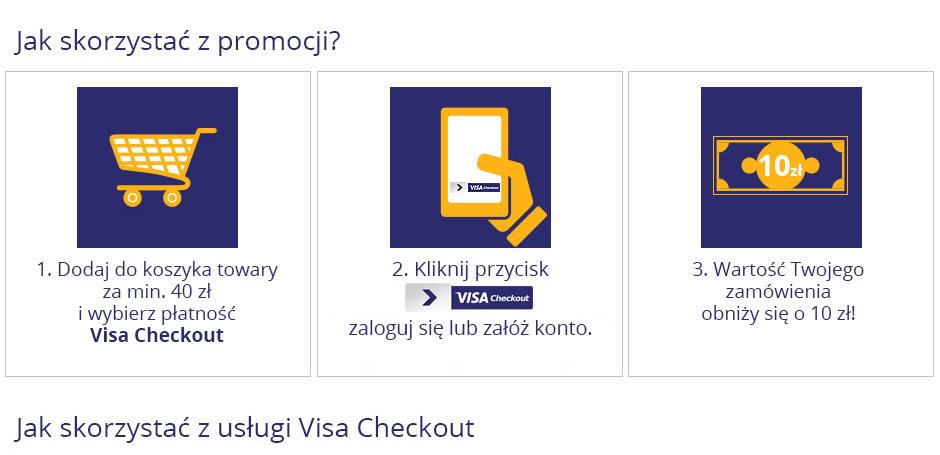 40 zł wydajesz, 10 zł dostajesz przy płatności Visa Checkout @Ravelo.pl