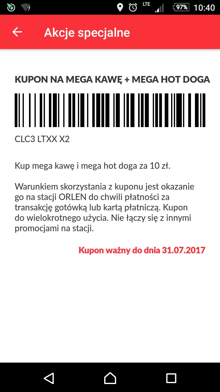 Mega hot dog i mega kawa za 10 zł ORLEN