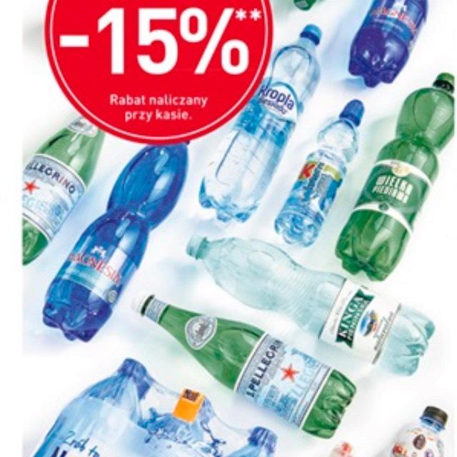 Wszystkie wody mineralne taniej o 15%@Carrefour