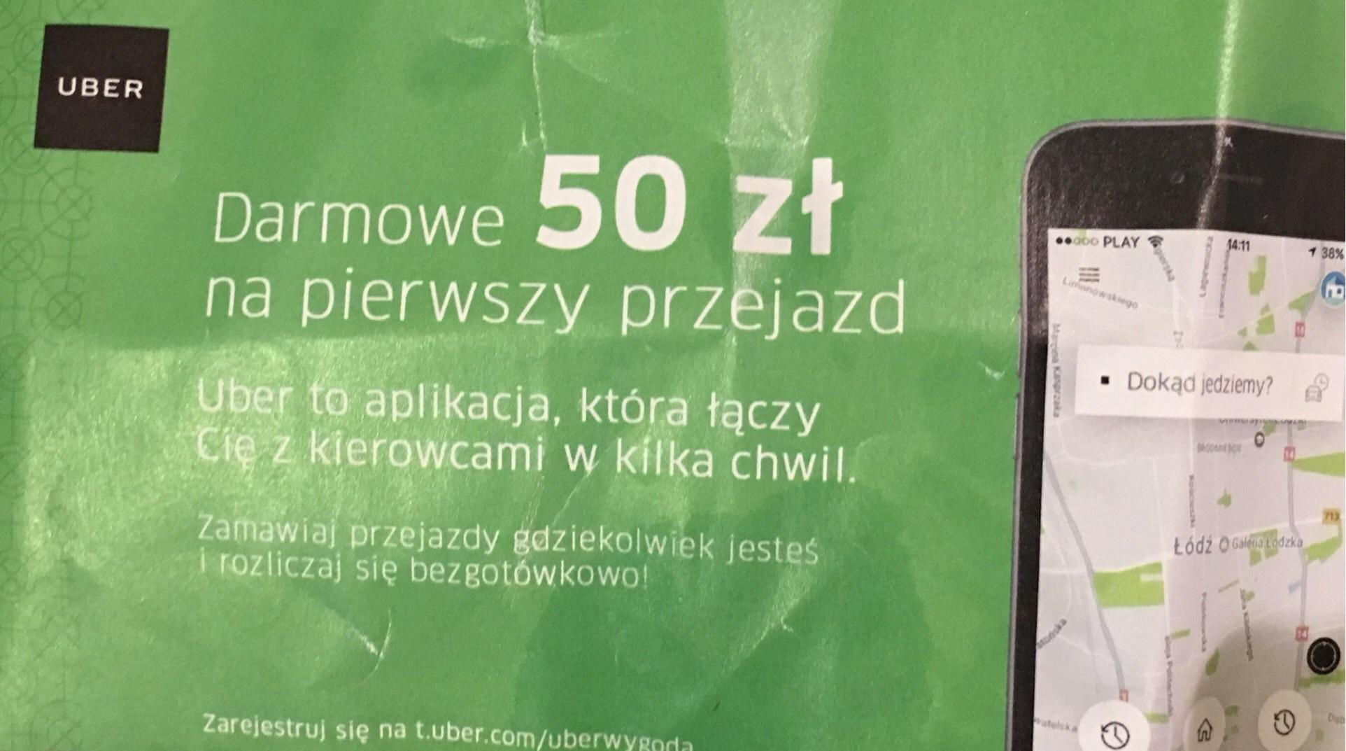 UBER - 50 zł na pierwszy przejazd dla nowych klientów