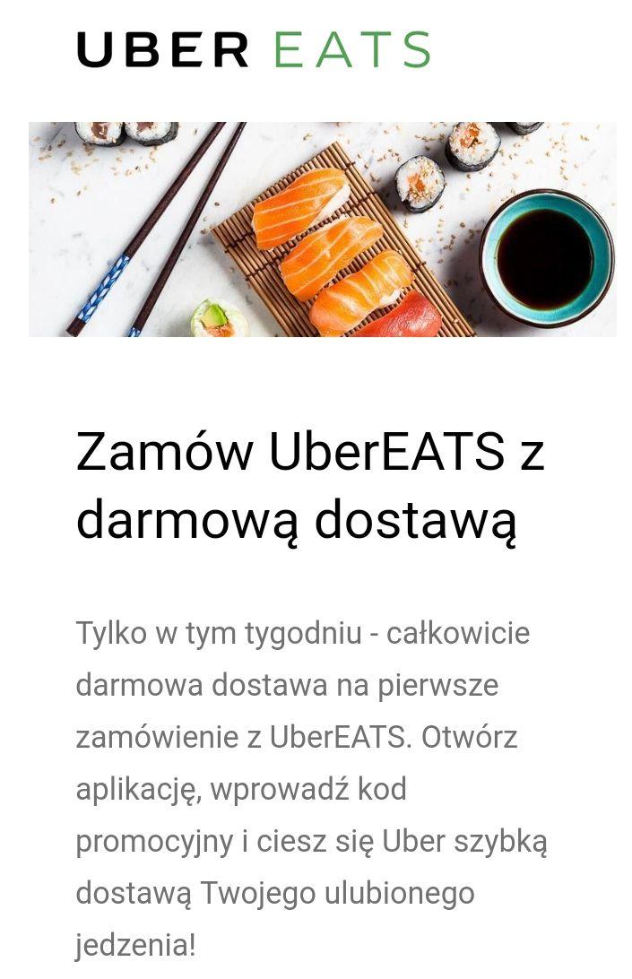 Kod na darmową dostawę w Uber Eats przy pierwszym zamówieniu