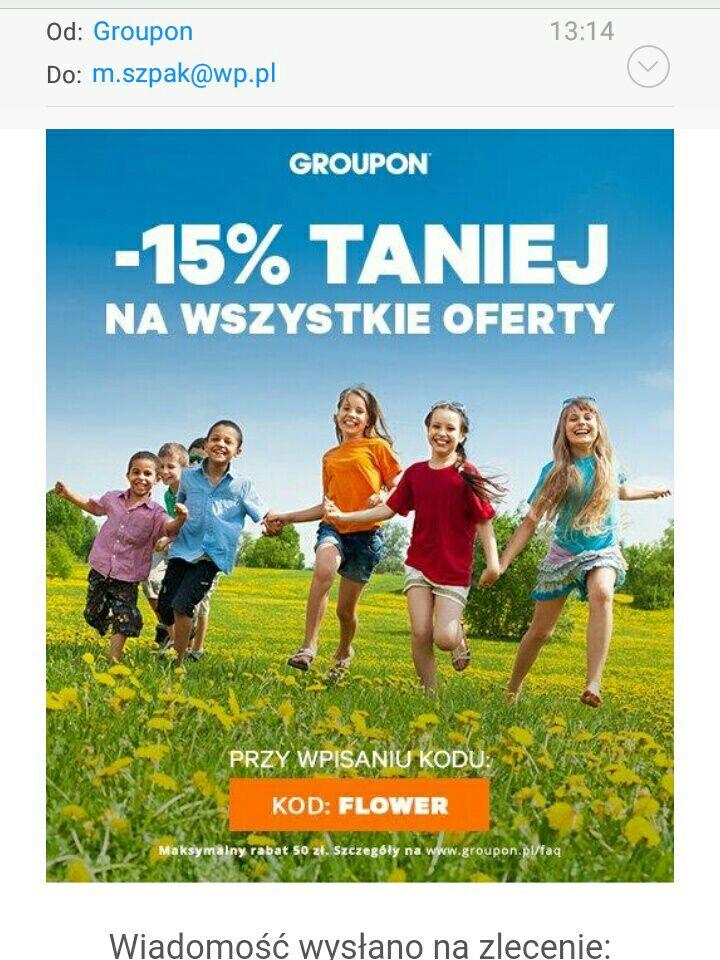 Kod rabatowy Groupon - 15% na wszystko. Max rabat 50 zł.
