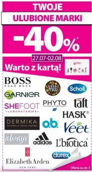 [Od 27 lipca] 40% rabatu na wybrane marki (m.in. Hugo Boss, Scholl, Adidas, Durex) @ Hebe