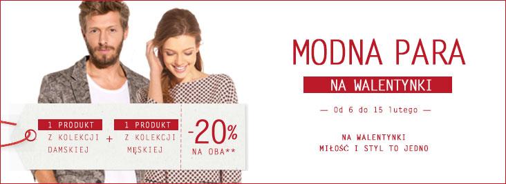 Dwa produkty -20% (kolekcja damska + kolekcja męska) @ Promod