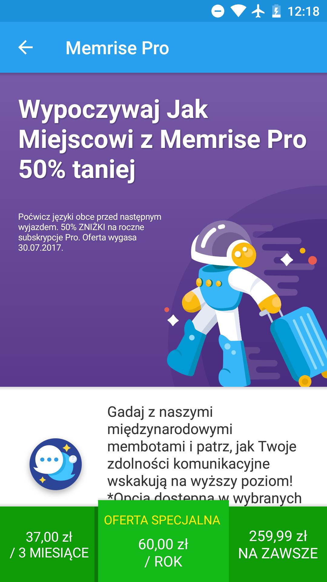 Rok premium na naukę języków w Memrise prawie 4 razy taniej