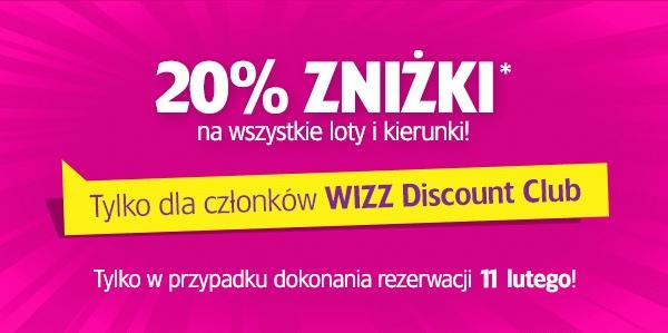 (TYLKO DZISIAJ) Dodatkowe 20% rabatu na WSZYSTKIE loty dla posiadaczy Wizz Discount Club @ Wizzair