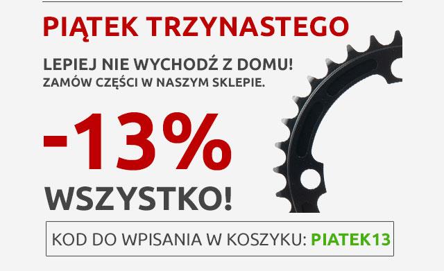 Kod rabatowy -13% tylko w dziś na cały asortyment (rowery, części, akcesoria) @Cyklotur