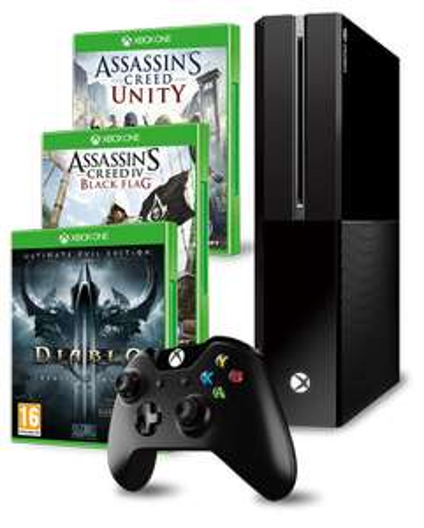 konsola Xbox One + Diablo III Ultimate Evil Edition + 2x Assassins Creed (Unity i Black Flag) + koszulka za 1649,99zł @ CDP