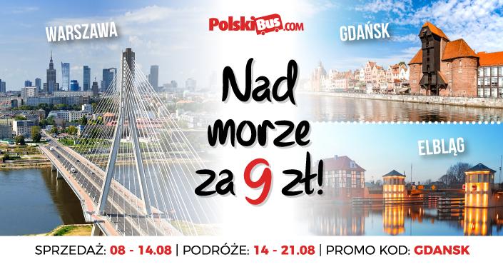 PolskiBus na trasie Warszawa - Elbląg - Gdańsk za 9zł w terminie 14-21 sierpnia