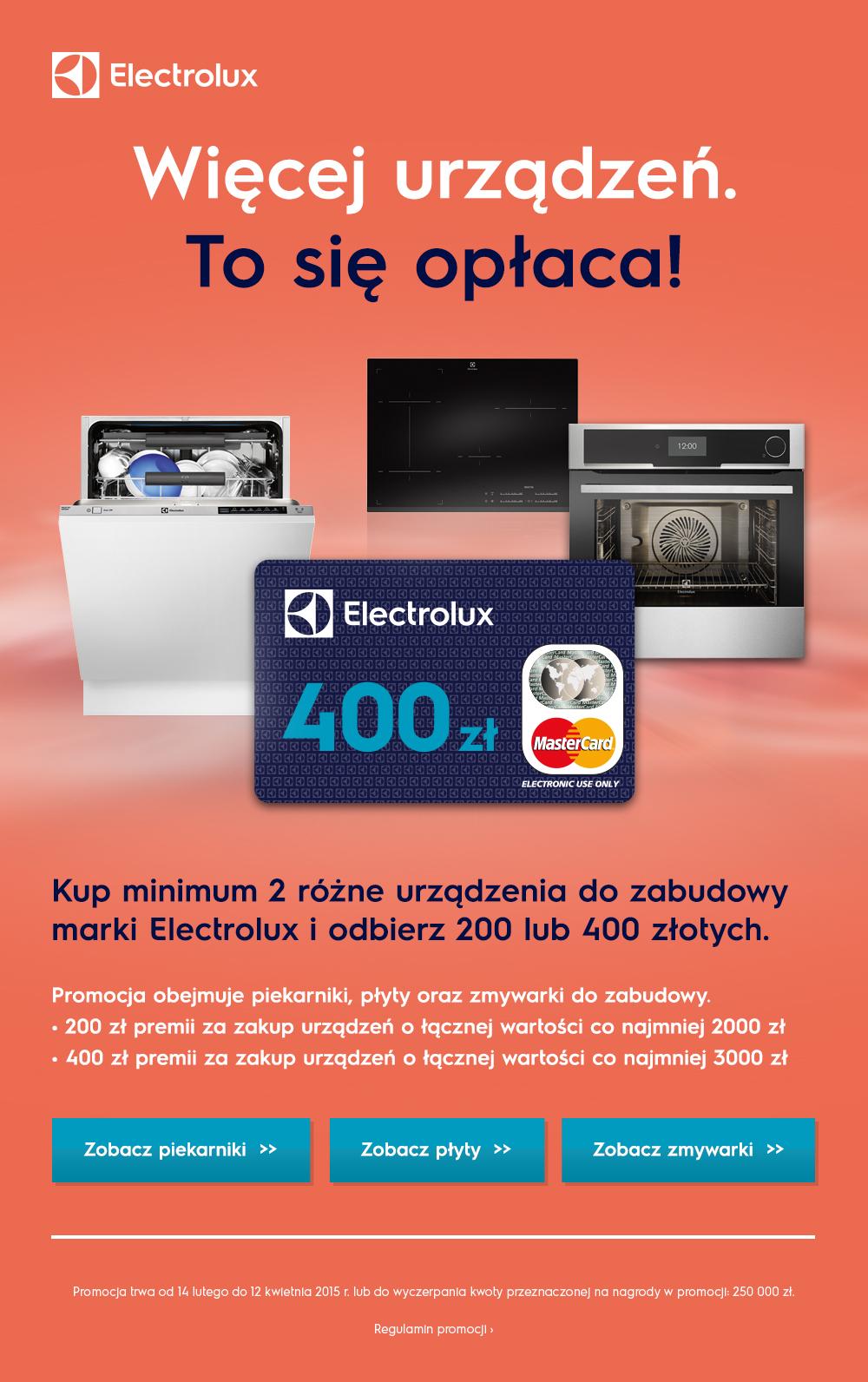 Zwrot pieniędzy za zakup urządzeń marki Electrolux pod zabudowę.