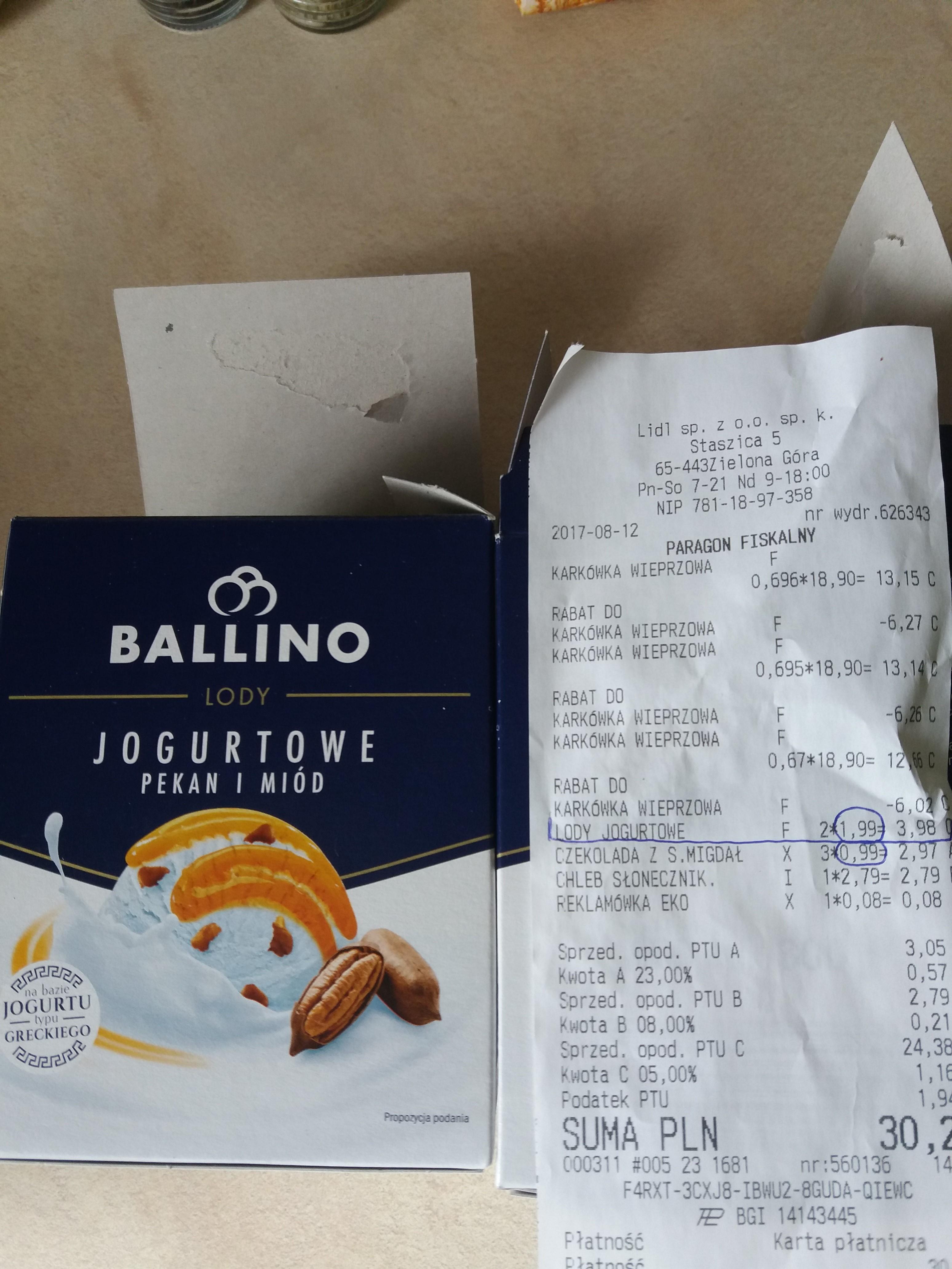 LIDL - lody Ballino 460ml/300g CENA 1,99