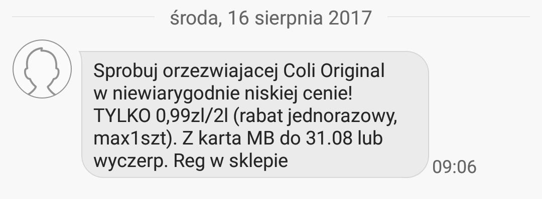 Cola Original 2 litry za 0.99 zł z kartą MB @Biedronka