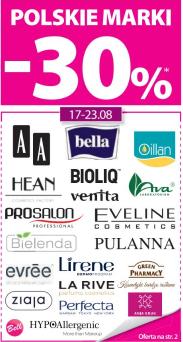 -30% na polskie marki (AA, Oillan, Ziaja i inne) @ Hebe