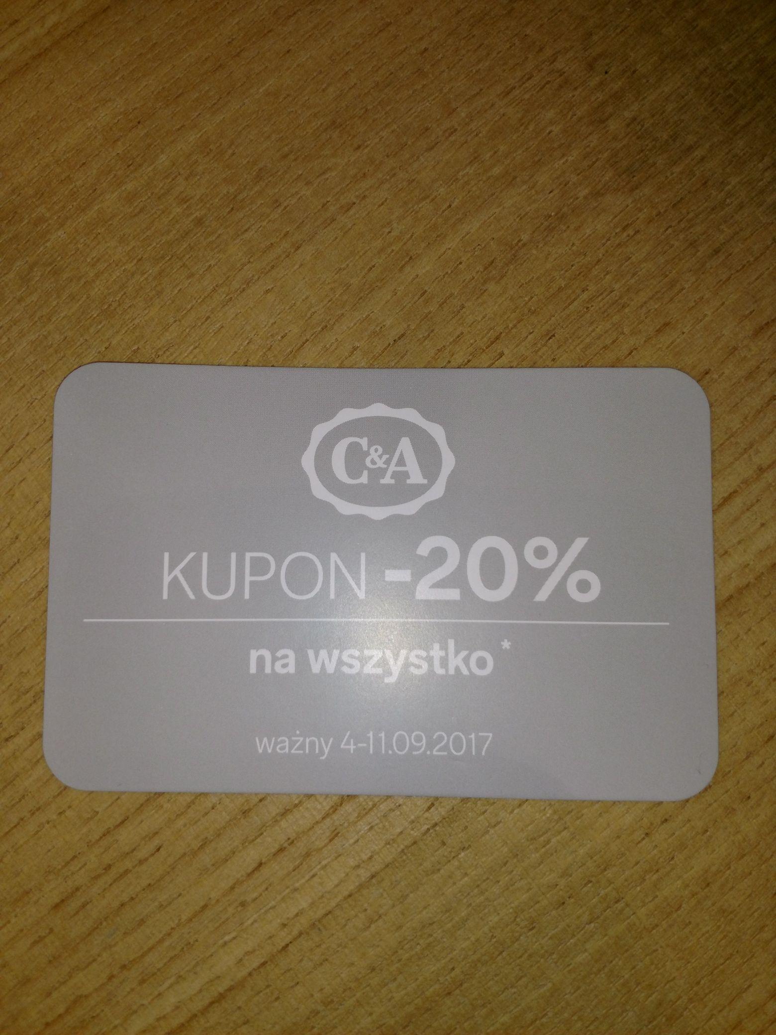 C&A Kupon -20% w sklepach oraz on-line (MWZ 76 zł)