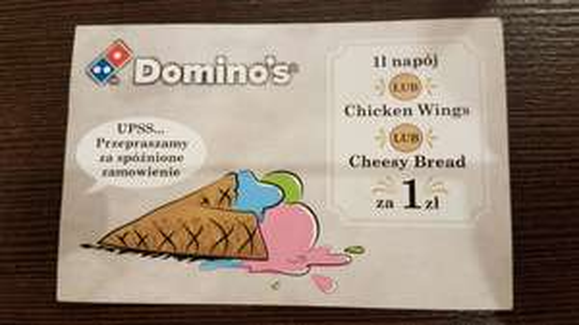 Kod do Domino's Pizza na 1l napój lub Chicken Wings lub Chessy Bread za 1zł