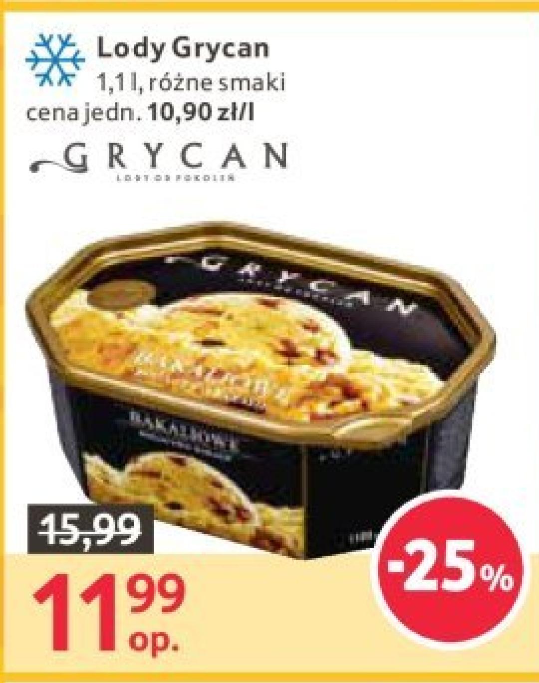 Lody GRYCAN 1100ml 11.99zł Tesco