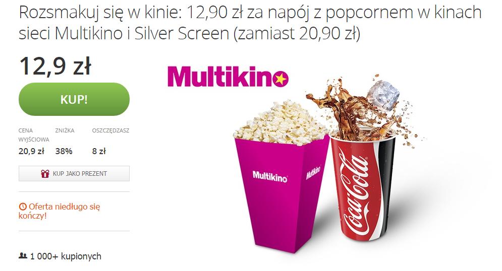 Zestaw napój z popcornem w Multikinie 38% taniej @ Groupon
