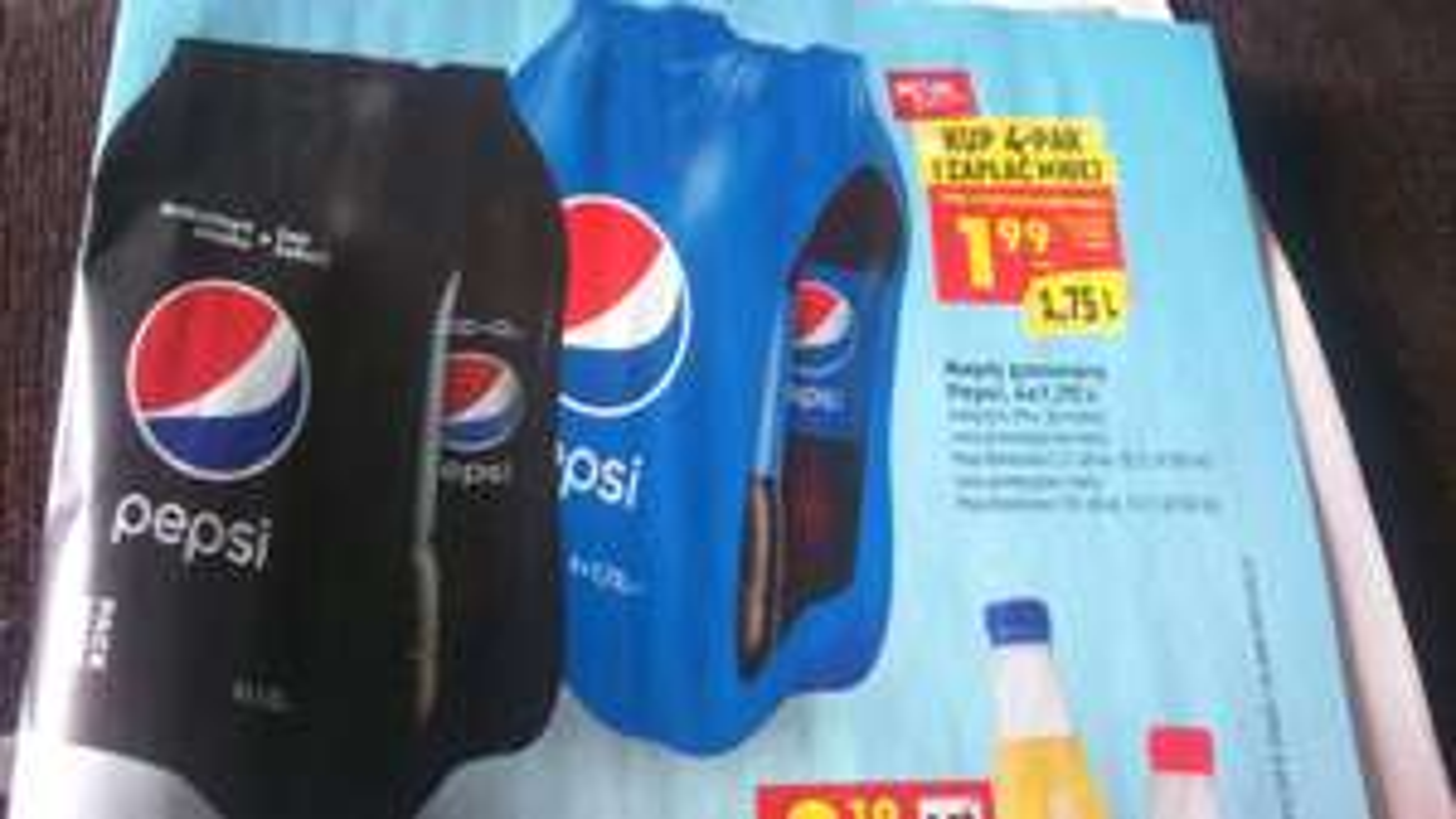 Pepsi, 8 zł za czteropak 5 l, biedronka.