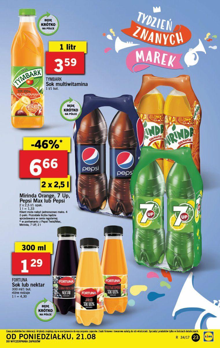 Pepsi, Mirinda i 7 Up 2x2,5L za 6,66zł w Lidlu