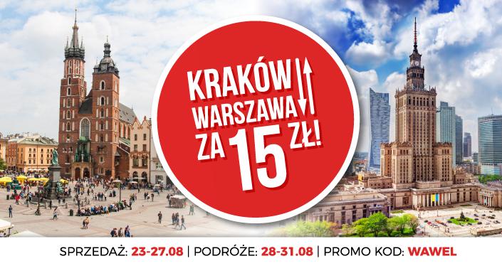 PolskiBus Kraków-Warszawa 15+1zł  28-31sierpień