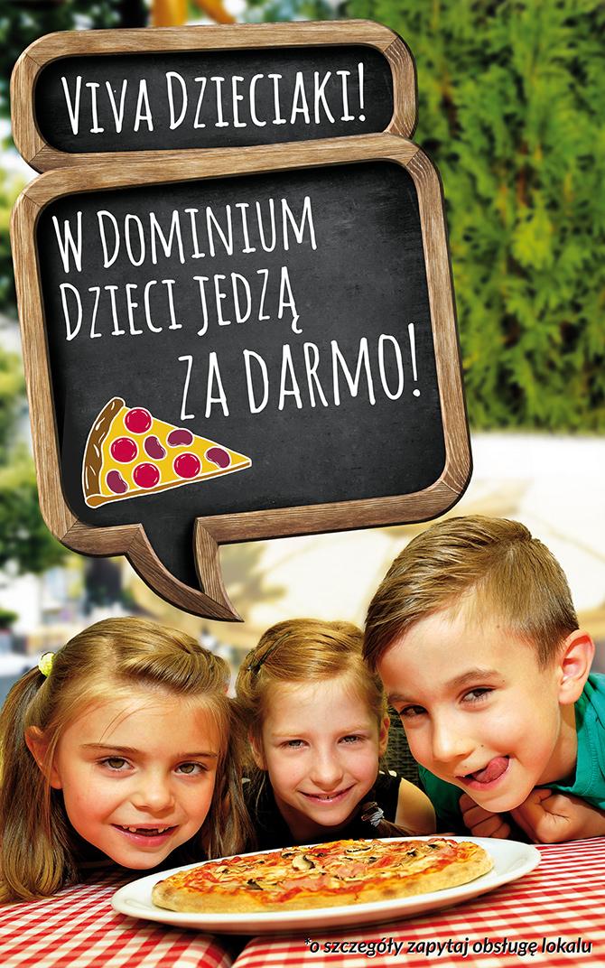 Pizza dla dziecka gratis przy zamówieniu od 30zł @ Gusto Dominium