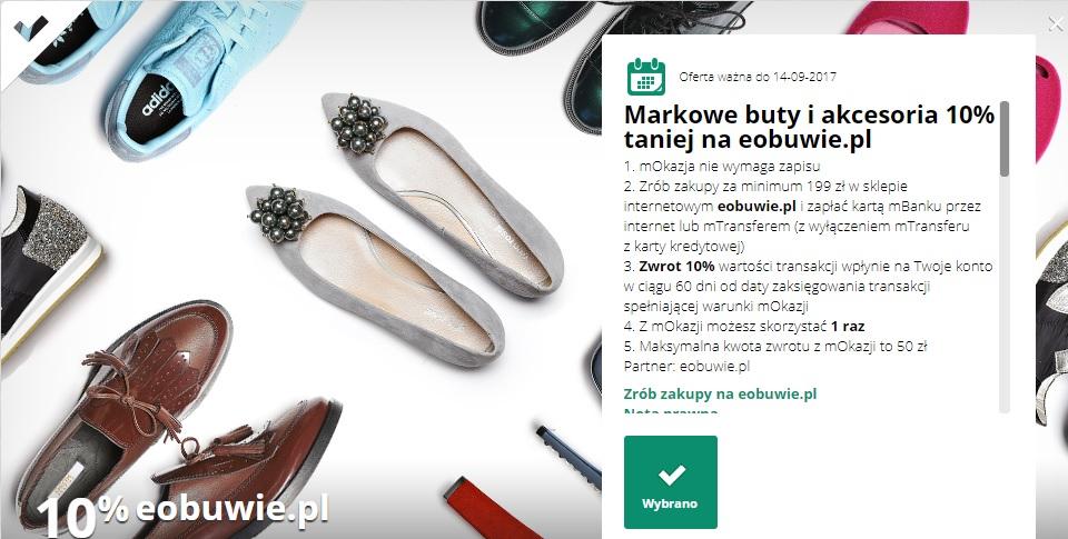 Markowe buty i akcesoria 10% taniej na eobuwie.pl mokazja @mbank