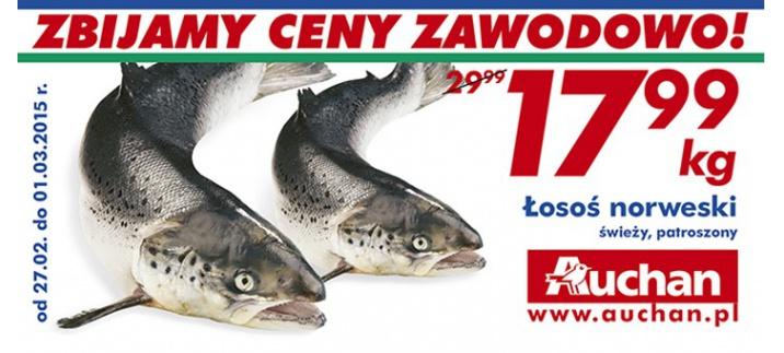 Łosoś norweski patroszony 17,99zł/kg @ Auchan