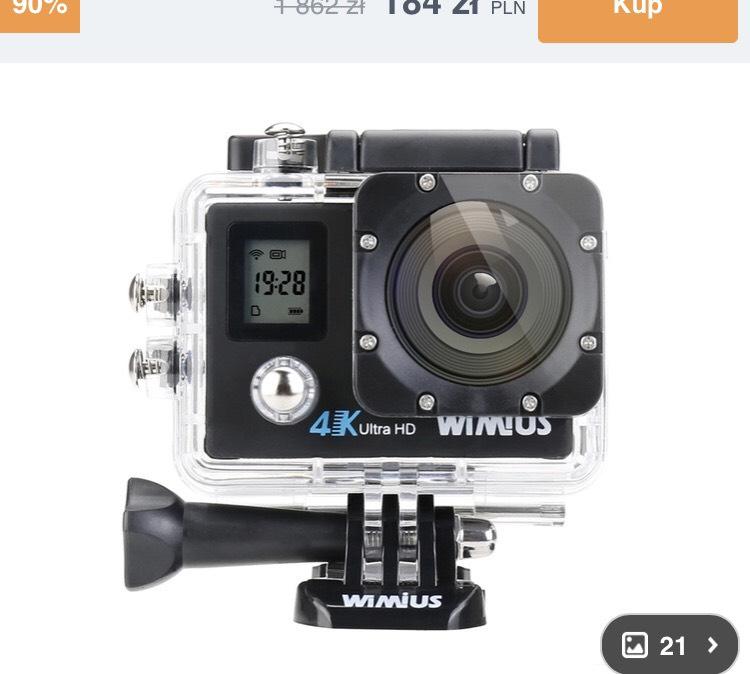 Kamera sportowa 4K - dwa wyświetlacze