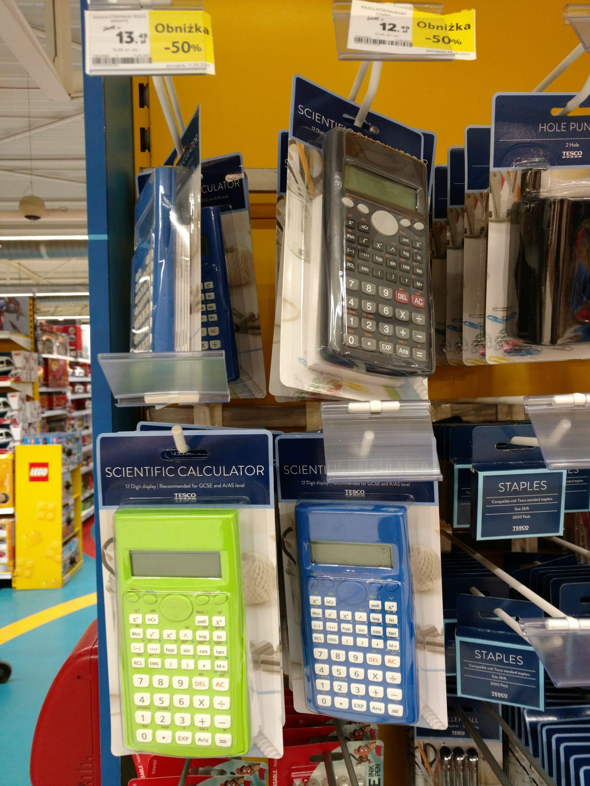-50% na wybrane artykuły szkolne w Tesco. Np. Kalkulatory inżynierskie 12,49.