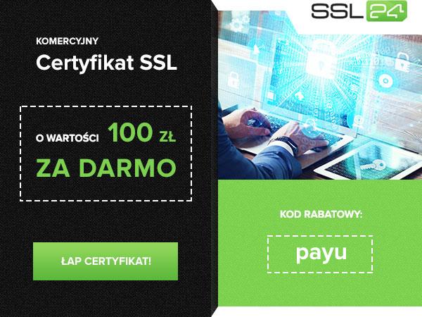 Komercyjny certyfikat SSL za darmo na rok dla klientów PayU