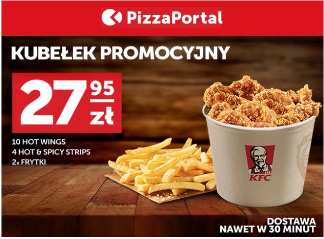 Kubełek KFC w Pizzaportal za 27,95zl, możliwe 18zl.