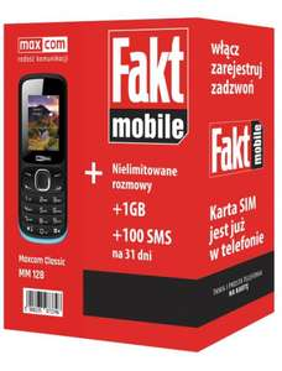 FaktMobile Maxcom MM128 oraz mini test pakiet noLimits na 31dni