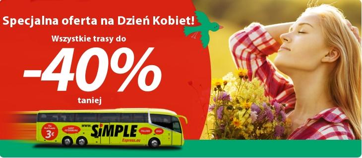 Na Dzień Kobiet -40% na wszystkie trasy @ Simple Express