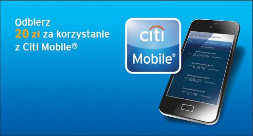 Dla klientów Citibank 20zł za zalogowanie się z urządzenia mobilnego