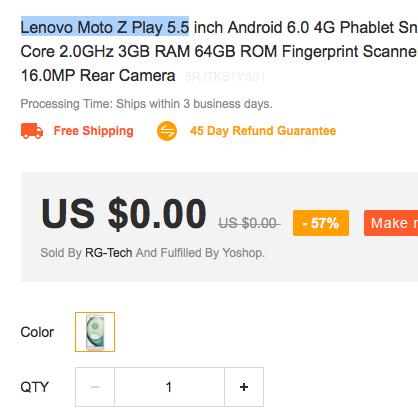 Lenovo Moto Z Play 5.5 za darmo