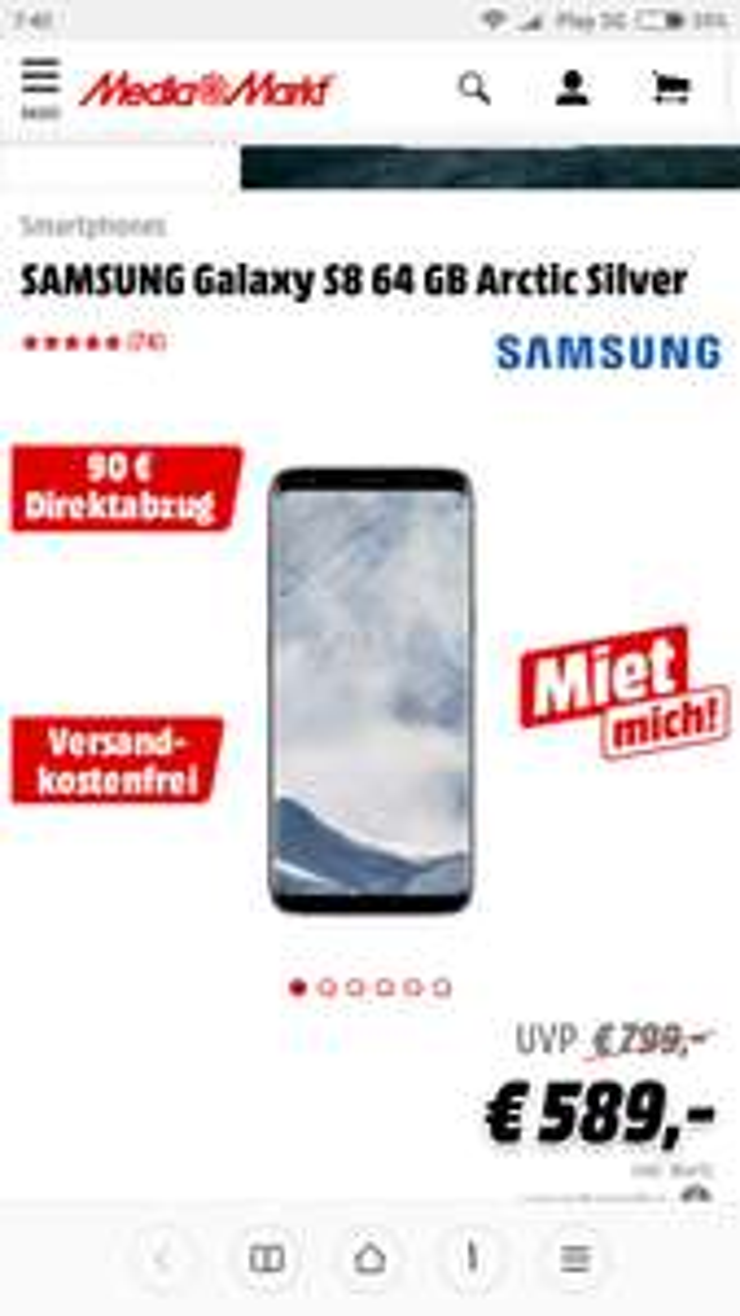 S8 za 499 kapustionów w MediaMarkt.de