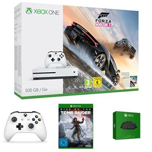 Konsola Xbox One S 500GB + Forza Horizon 3 + Rise of the Tomb Raider + 2. kontroler +  Chatpad