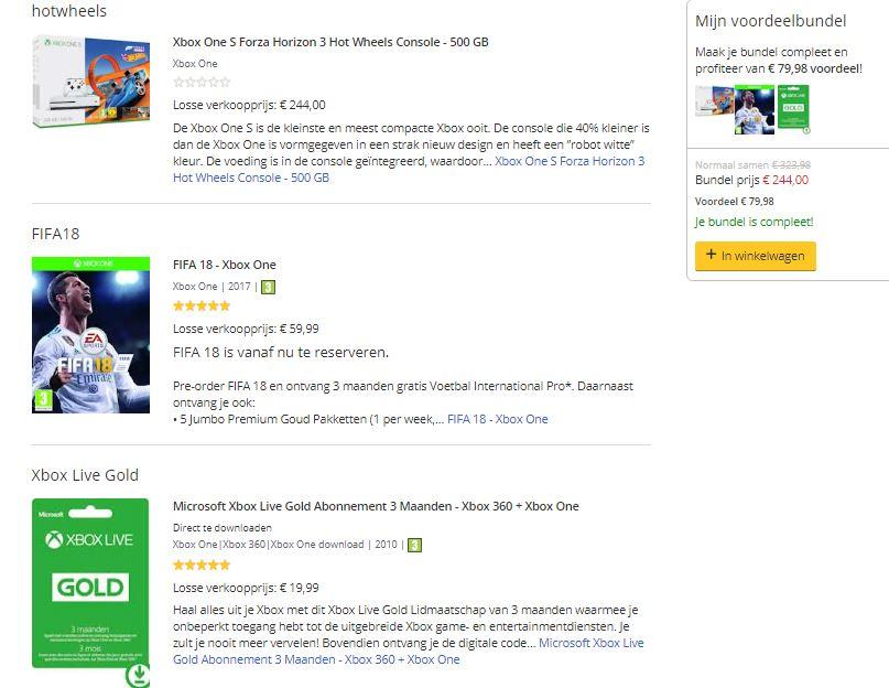 Xbox One S 500GB + Forza Horizon 3 (+DLC Hot Wheels) + FIFA 18 + 3 miesiące XBL za ~1015zł @ Bol.com